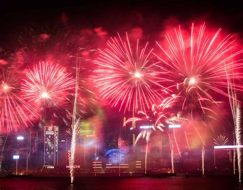 hong kong new year fireworks live fireworks are seen the city s skyline in hong kong