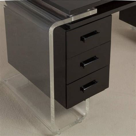 Lucite Vanity Table Large Black And Clear Lucite Vanity Table Or Desk 1980s