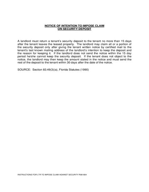 Rent Deposit Florida Security Deposit Form Florida Free