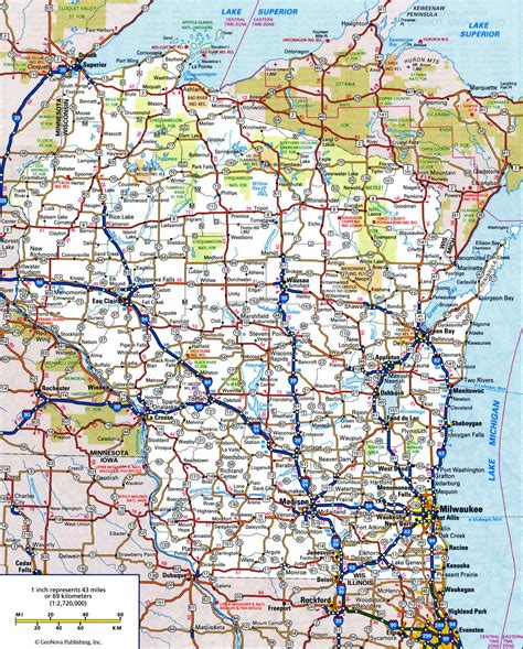us maps with highways and cities wisconsin road map