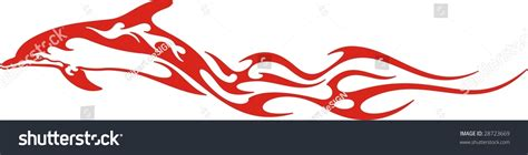 Vector Clipart For Vinyl Decal Graphics - flaming dolphin vector illustration great vehicle stock
