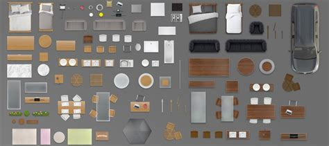 furniture floorplan top view psd  model render wood