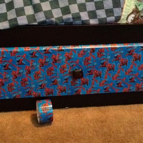 spiderman toddler bed with drawers decorated my sons beds drawers with spiderman duck tape