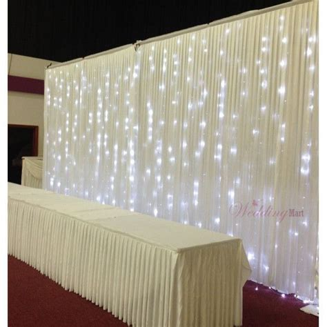 Wedding Backdrop Curtains Lighted Tulle Table Swag For Wedding Pleated Backdrop Curtain With Light 20ft Wedding