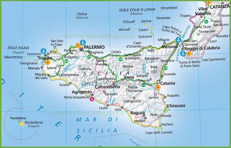 map of sicily italy large map of sicily