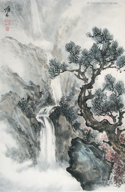oriental mountain tattoo chinese waterfall and mountain landscapes painted by