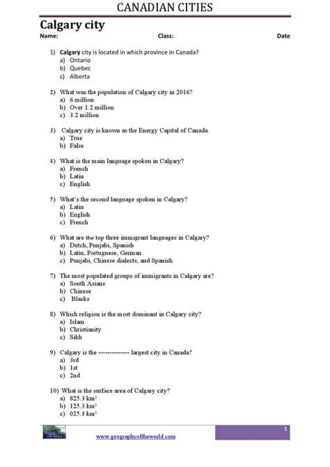 printable quiz about canada canadian geography printable worksheets pdf education