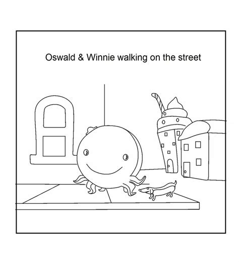 oswald and winnie walking on the street coloring printable