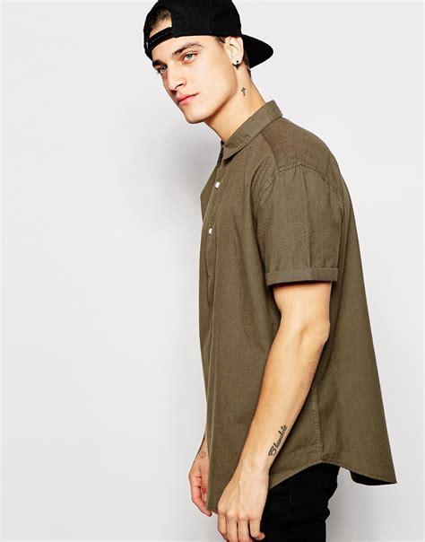 Sleeve Half Placket Shirt asos oversized shirt in half sleeve with half placket in