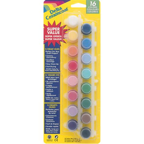 plaid delta ceramcoat acrylic paint pots 16 colors 125649 create and craft