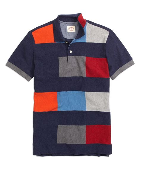 color block polo shirt brothers color block polo shirt in blue for lyst