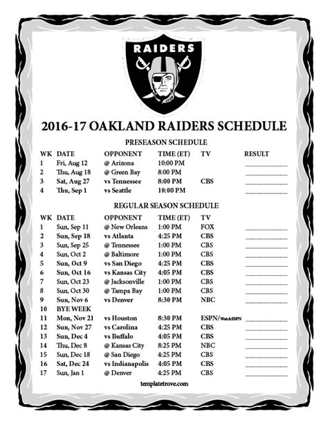 printable raiders schedule 2015 printable 2016 2017 oakland raiders schedule