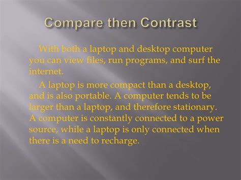 Compare And Contrast Essay Laptop And Desktop by Compare And Contrast Laptops And Desktops Essay