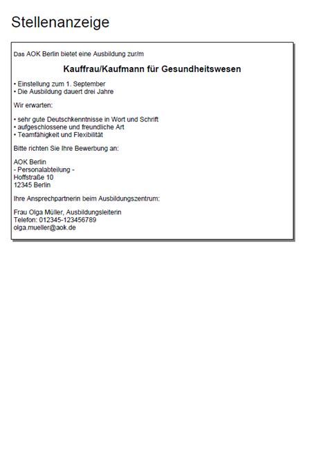 Bewerbungbchreiben Muster Ausbildung Kauffrau Im Gesundheitswesen bewerbung aok zusammen mit dem deutschen handballbund