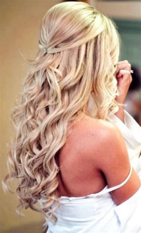 wedding hairstyles long curls gorgeous pinned back hair bridal half updo http gvenny