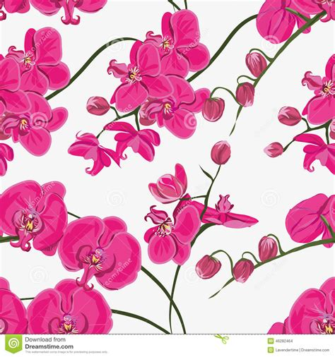 orchid pattern vector pink orchid seamless vector pattern stock vector image
