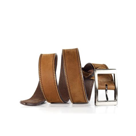 silver buckle brown leather belt kreate