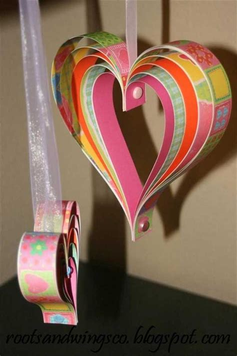Craft Paper Hearts - top 35 easy shaped diy crafts for valentines day