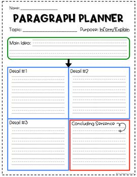 Paragraph Writing Planning Template Freebie By The Delighted Teacher Paragraph Writing Template