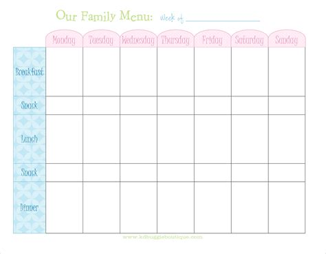 menu planning template printable weekly menu planner