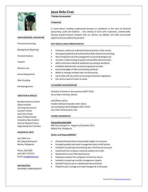 sle resume in word format sle resume format for accountant resume ideas