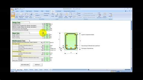 Concrete Column Design Spreadsheet by Reinforced Concrete Beam Design Spreadsheet