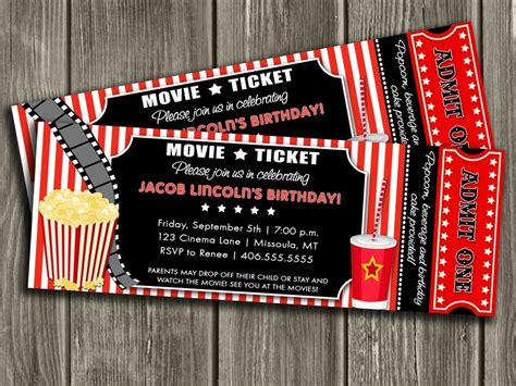 Movie Ticket Invitation Template Free Printable Invoice Template Within Movie Invitations Ticket Invitation Template Free