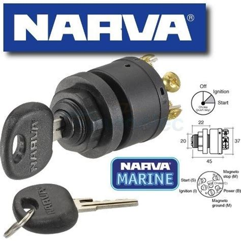 narva 3 position ignition switch push for choke glow marine