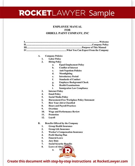 staff manual template employee manual template document with sle