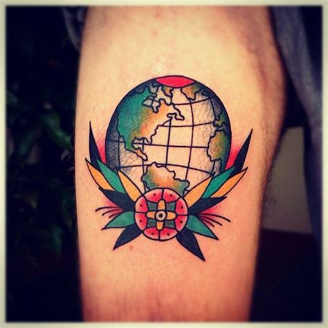 traditional globe tattoo globe traditional style school