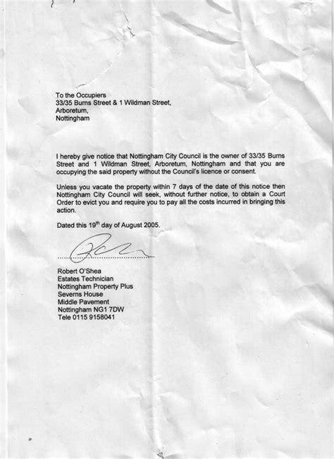 Nottinghamshire | Council serve eviction notice