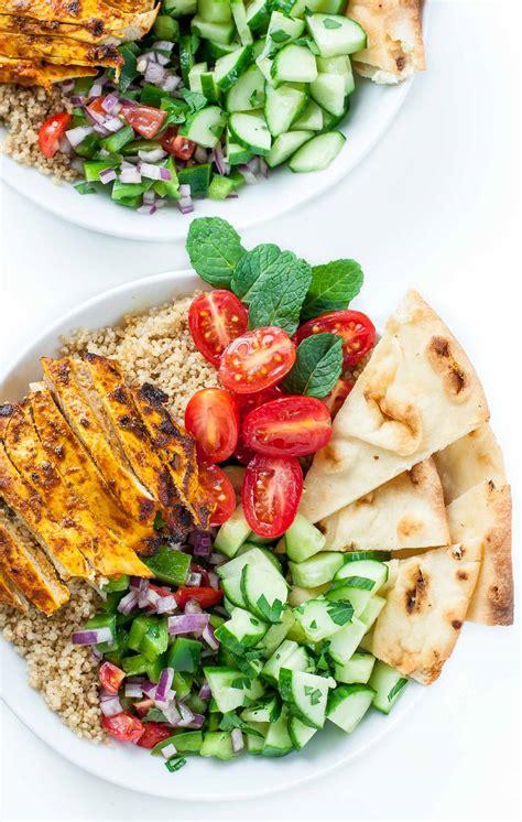 healthy chicken shawarma quinoa bowls peas and crayons