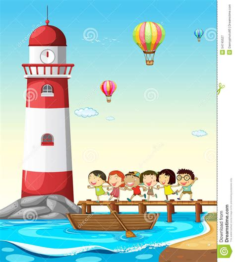 kinderzimmer bild leuchtturm kinder und leuchtturm vektor abbildung illustration