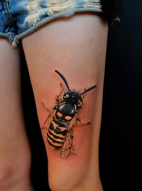 hornet tattoo 3d yellow jacket on lower front thigh insect ink