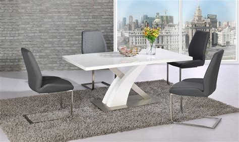 White Gloss Dining Table Set White Glass Gloss Dining Table And 4 Grey Chairs Set Homegenies