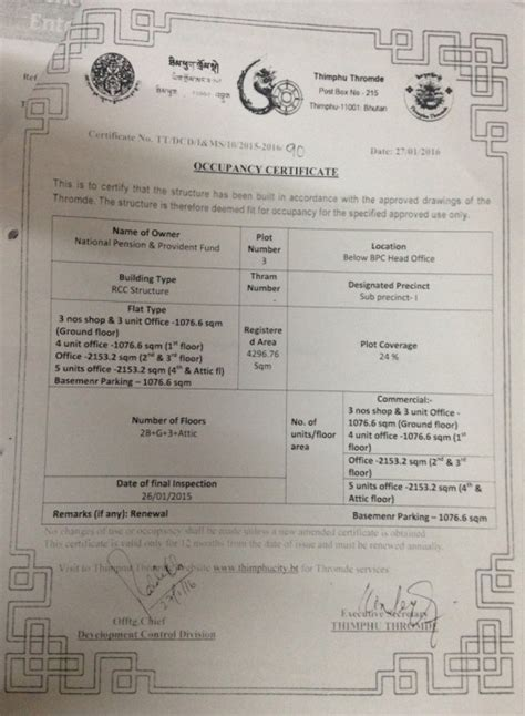 certification letter for occupancy occupancy certificate