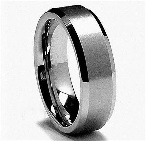 vintage jewelry 8mm white tungsten carbide ring mens
