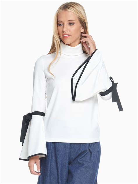 tov white trumpet turtle neck blouse modishonline
