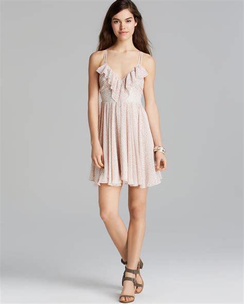 guess dress bonita liberty in beige affair pink multi lyst