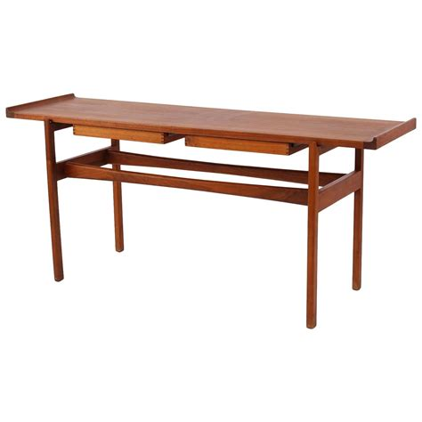 teak sofa table early jens risom solid teak console or sofa table at 1stdibs