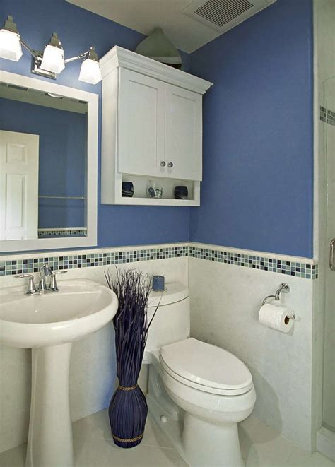 blue bathroom designs decorating a small bathroom in the simplest way on a tight