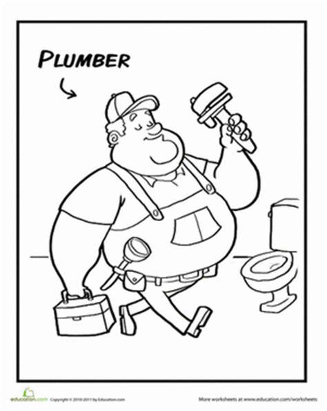 people coloring pages preschool plumber worksheet education com