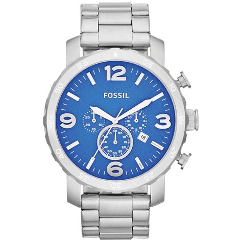 Fossil Chrono Stopwatch Silver Chain fossil mens chronograph nate stainless steel bracelet 50mm in silver for steel lyst