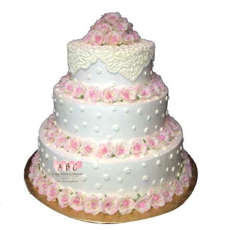Merona Layer Cake Top Pink White Blue 1730 3 Tier Wedding Cake With Lace Flowers Abc Cake