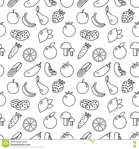 doodle royalty free fruits and vegetables line style seamless pattern fruits