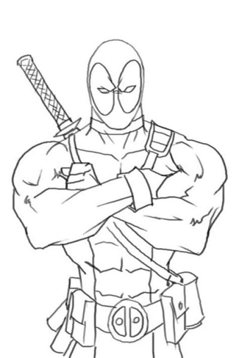 Coloring Page Deadpool by Deadpool Coloring Page Free To Print Superheroes