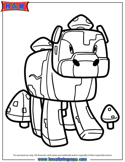 minecraft mooshroom coloring page free coloring pages of minecraft moosroom