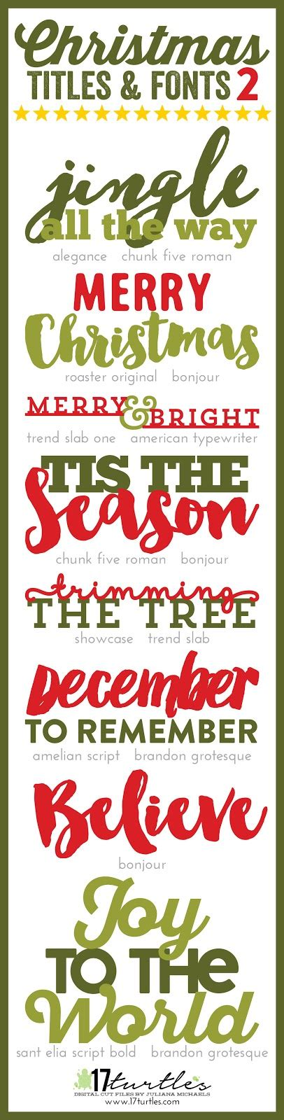 christmas titles and fonts 2 by juliana michaels 17turtles
