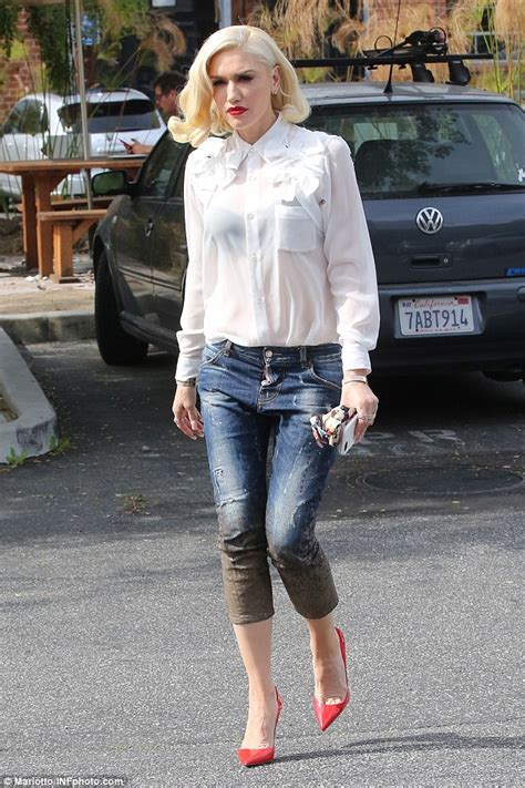 46 year old fashion style check out stylish icon gwen stefani in sheer white top and