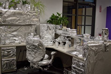 tin foil desk absolutely everything on desk was